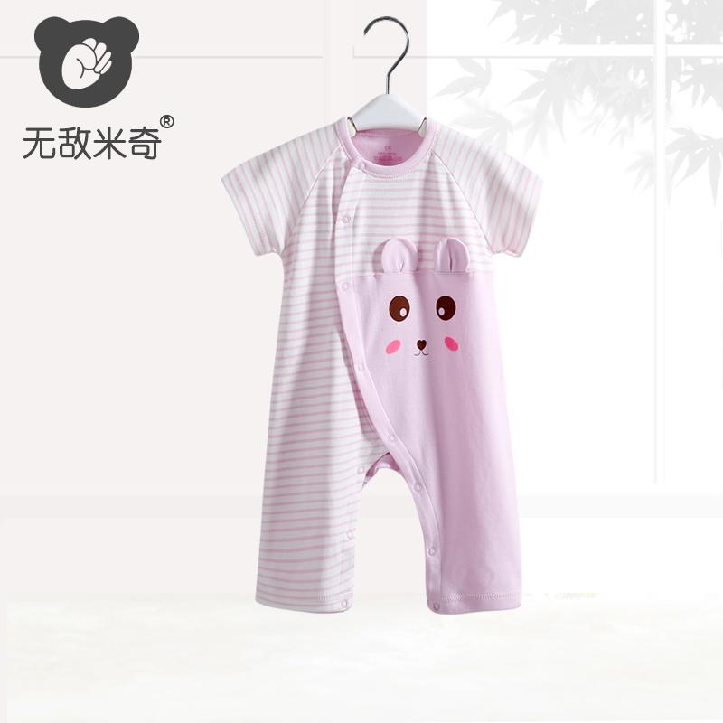 无敌米奇 婴儿连体衣短袖外出服春夏季婴儿爬行服哈衣夏装