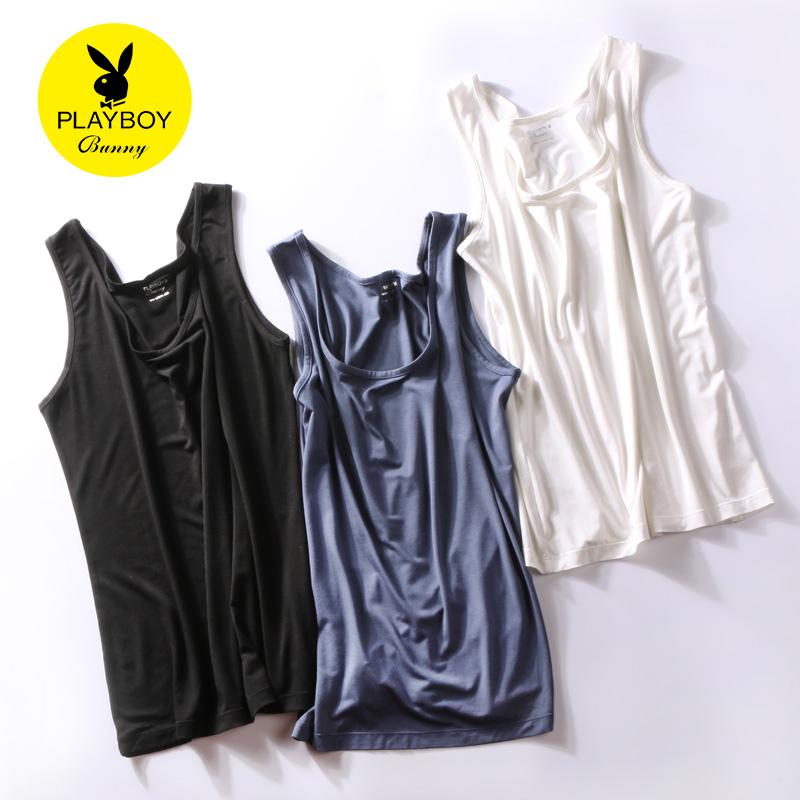 Playboy吊带背心女内搭短款夏季宽松打底衫白色无袖t恤女2017新款