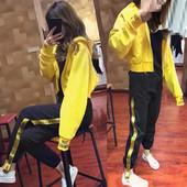 两件套潮牌侧边织带休闲裤 运动服 字母卫衣时尚 女春秋新款 运动套装