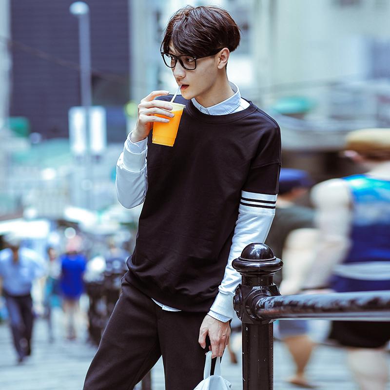 韩国男装秋季新款男士假两件式韩版撞色拼接圆领休闲潮款套头卫衣