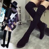 长筒靴女过膝春秋瘦腿单靴2017新款冬款百搭显瘦平跟高筒弹力靴