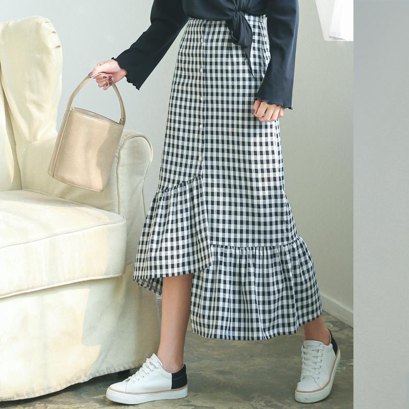 高腰荷叶格子长裙半身韩国不规则单排复古