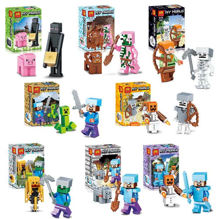 乐高我的世界系列拼装积木人仔铁傀儡雪地村庄益智小男孩儿童玩具