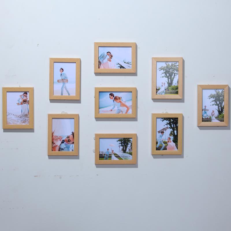 客厅九宫格全5寸相框挂墙创意组合 卧室画框相片墙照片墙装饰图片