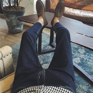港仔秋冬男士牛仔裤纯棉弹力直筒小脚裤韩版修身休闲时尚百搭长裤