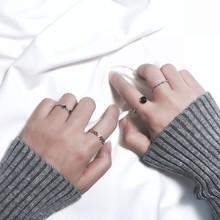 【天天特价】韩国黑色珠子水波纹镂空银色戒指组合女日韩潮人极简