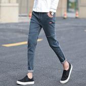 夏季薄款九分牛仔裤男士韩版修身青少年小脚裤潮男装薄款男式裤子