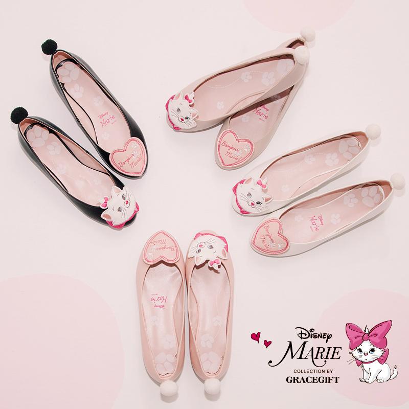 瑪麗夏娃不對稱貓咪圓頭淺口單鞋平底鞋