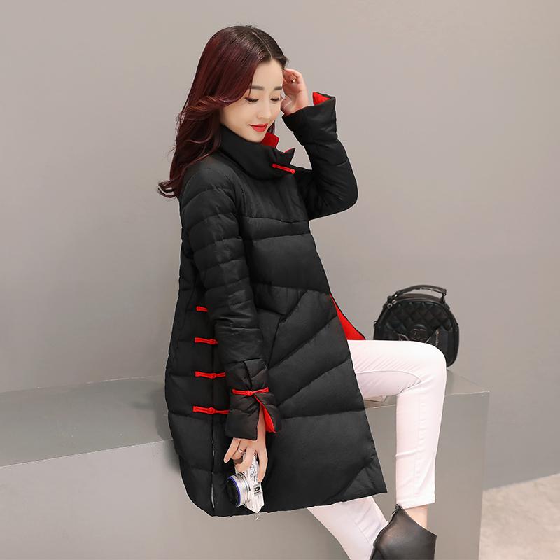 翻领A型修身纯色女士保暖外套2016年冬季中长新款羽绒服复古排扣