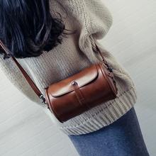 森系复古圆桶包包2017新款韩版时尚女包简约百搭定型单肩斜挎包潮
