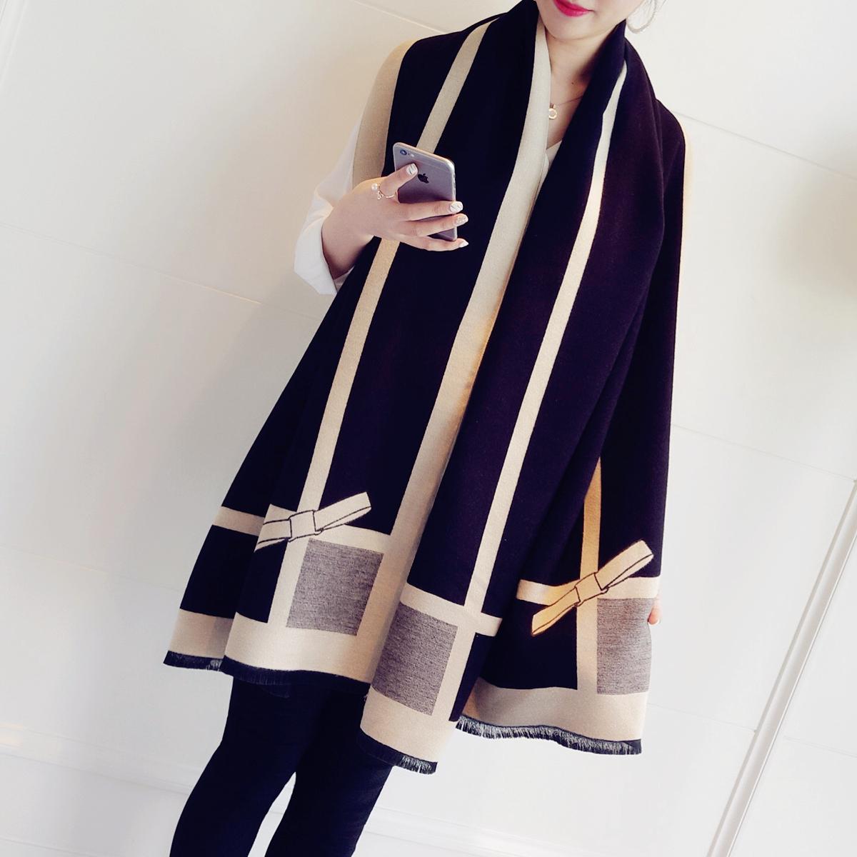 小溜家韩国秋冬仿羊绒围巾女气质拼色蝴蝶结超大双面披肩两用围脖
