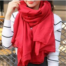 丝巾女士春秋冬季超长款百搭学生纯色文艺围脖大披肩两用棉麻围巾