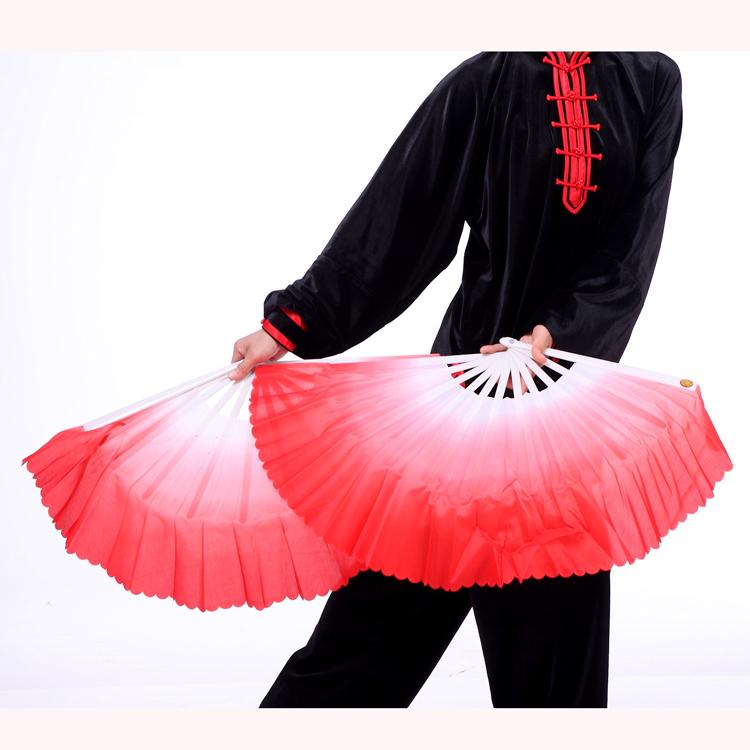 渐变舞蹈体操扇木兰扇42cm黄色扇功夫左右手适合中年女性做的彩云图片