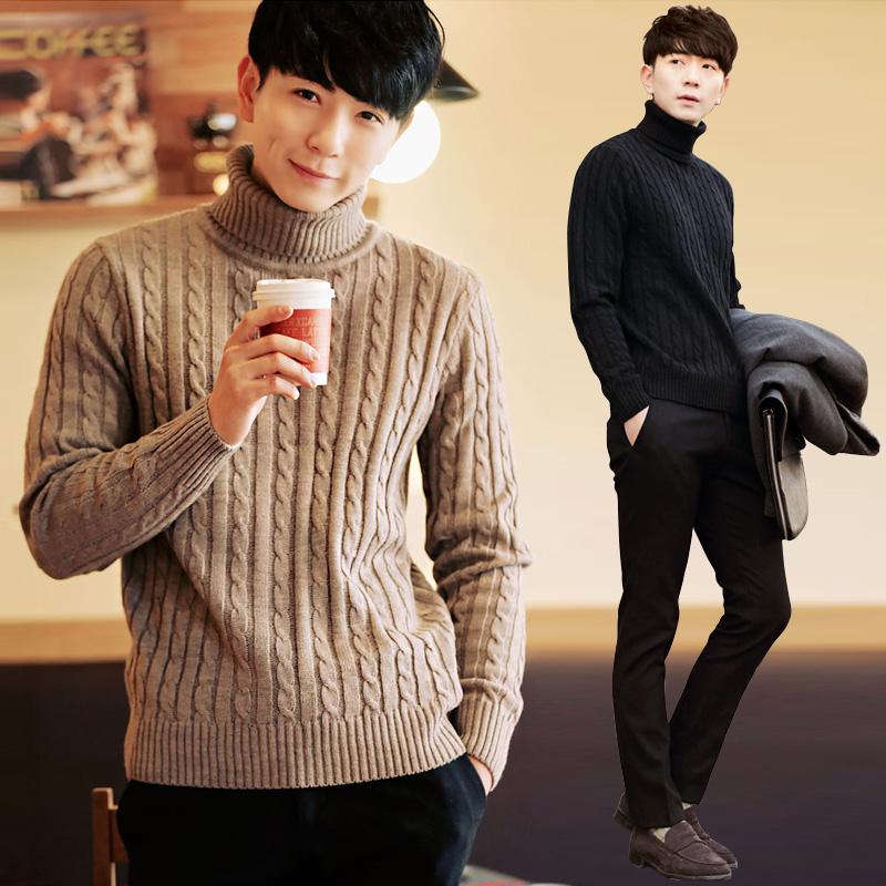 冬季男士高领毛衣男修身韩版套头潮流加厚保暖学生黑色针织衫日系