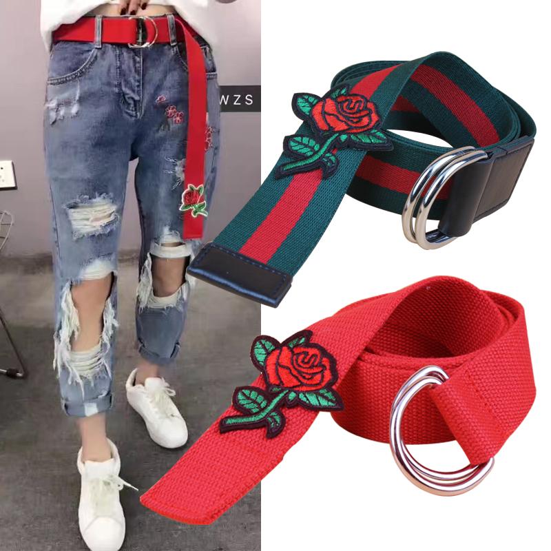刺绣花朵裤带玫瑰装饰帆布腰带皮带学生女士简约百搭双环扣