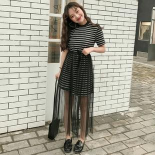 春夏女装2017新款韩版中长款宽松短袖T恤裙学生条纹上衣+纱裙套装