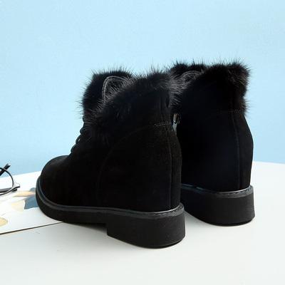 芦曼思真皮女靴水貂毛磨砂牛皮中跟内增高马丁靴英伦短靴女棉鞋潮