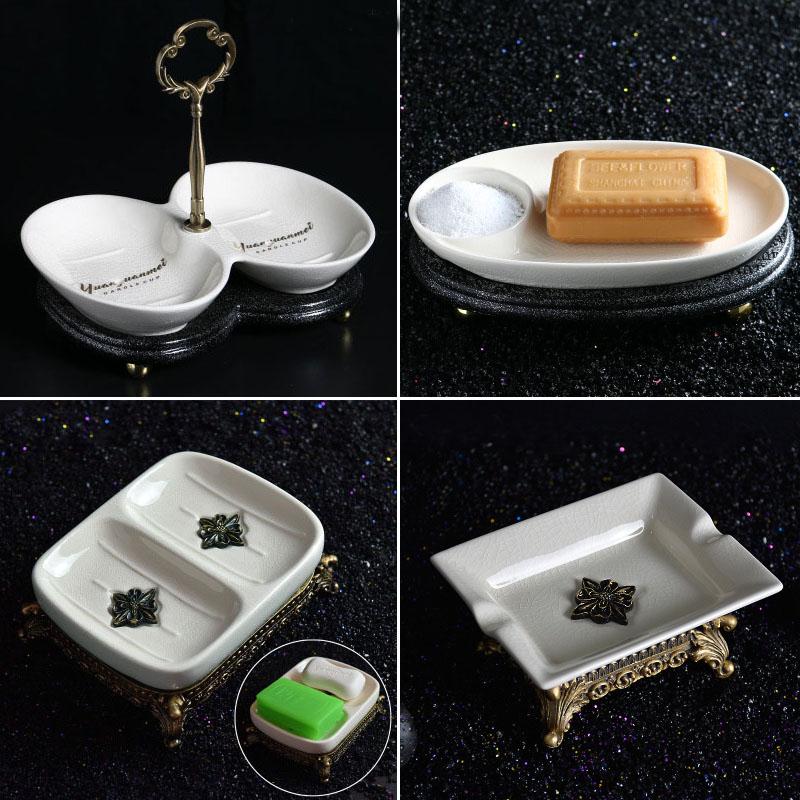欧式裂纹陶瓷沥水双层肥皂盒家用卫生间高档肥皂瓷皂托皂碟香皂盒