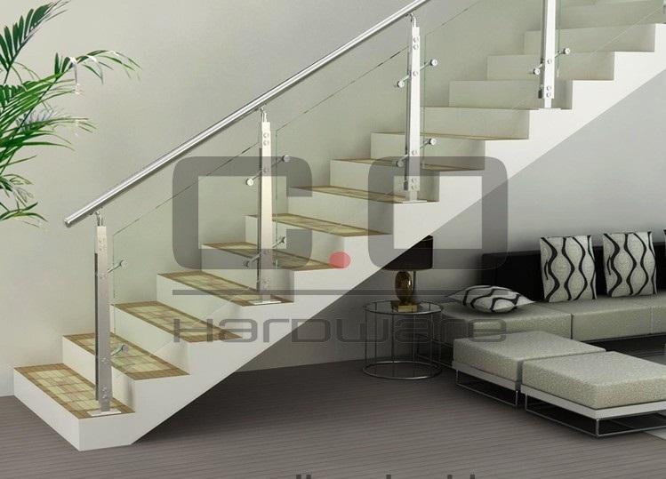 杭州玻璃不锈钢扶手护栏复式阁楼整体楼梯实木扶手踏步厂家直销
