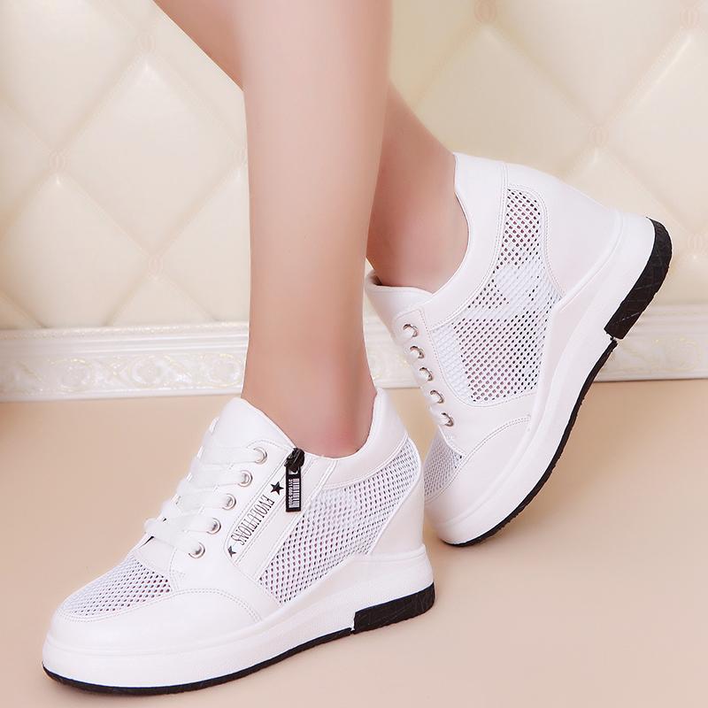 透氣網鞋女韓版百搭內拉鏈運動鞋增高坡跟女鞋夏季休閑鞋
