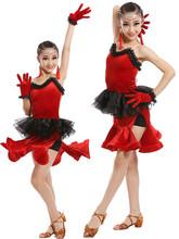 2017新款丝绒女童拉丁舞演出服少儿比赛服拉丁舞裙考级服规定服女