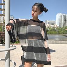 夏装女装韩版bf风宽松条纹透明防晒衫中长款长袖T恤罩衫学生上衣