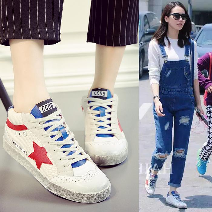刘诗诗同款韩版小脏鞋女真皮运动休闲鞋做旧星星小白鞋系带板鞋潮