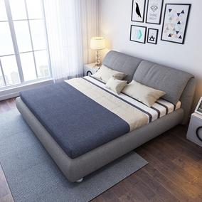 北欧布艺床可拆洗卧室小户型布床气动储物双人床1.8米主卧床包邮