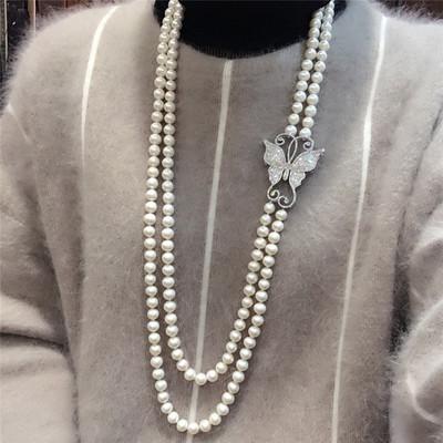 新品奢华蝴蝶双层天然淡水珍珠项链 毛衣链 女款S925银送妈妈包邮