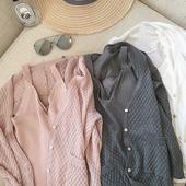 美美的夏夏:2017夏装新品 针织空调开衫+V领吊带上衣套装三色