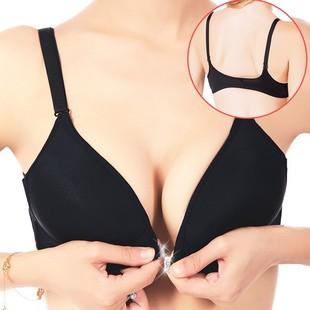 包邮黑色胸罩性感前扣无钢圈舒适文胸 美背透气大码聚拢内衣女