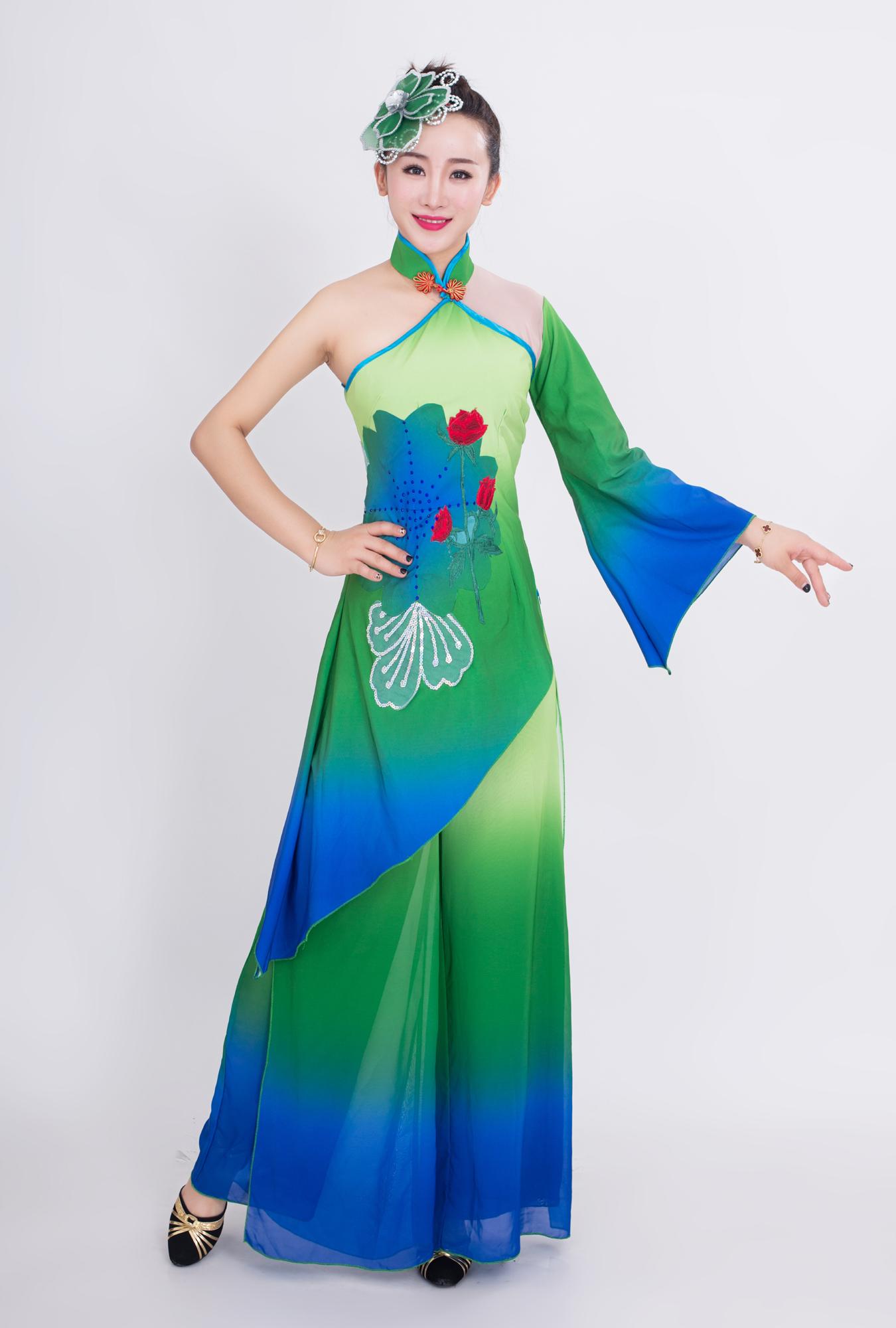 新款古典舞蹈服装女江南伞舞扇子舞演出服秀色民族表演服团扇飘逸