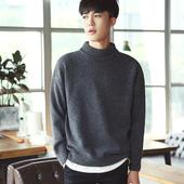 秋冬季男装圆领毛线衣半高领毛衣韩版学生宽松加绒加厚男士针织衫
