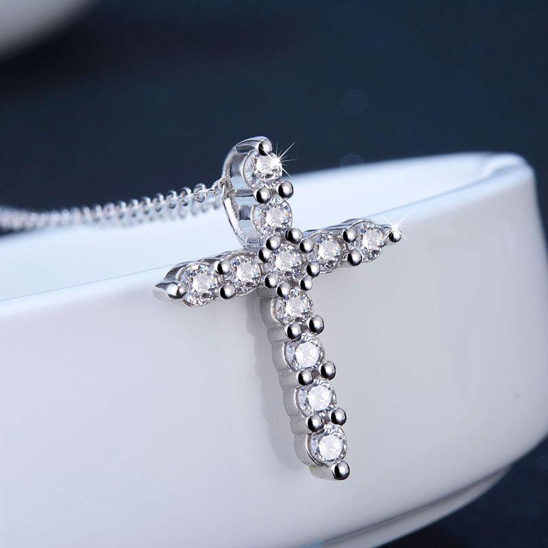 韩版热销饰品送女友礼物吊坠 吊坠 明星同款十字架项链 银项链
