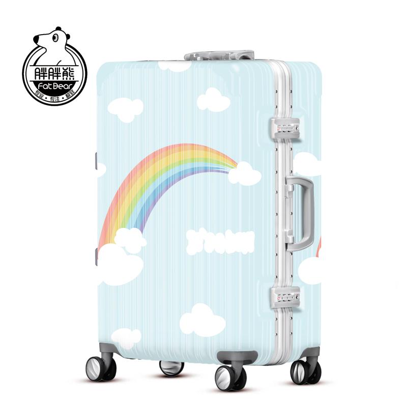 胖胖熊彩虹拉杆箱男20寸登机箱女万向轮子母箱铝框旅行箱SHW057