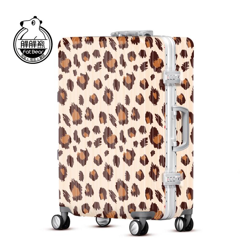 胖胖熊时尚豹纹旅行箱abs行李箱pc拉杆箱镜面硬箱WLH145