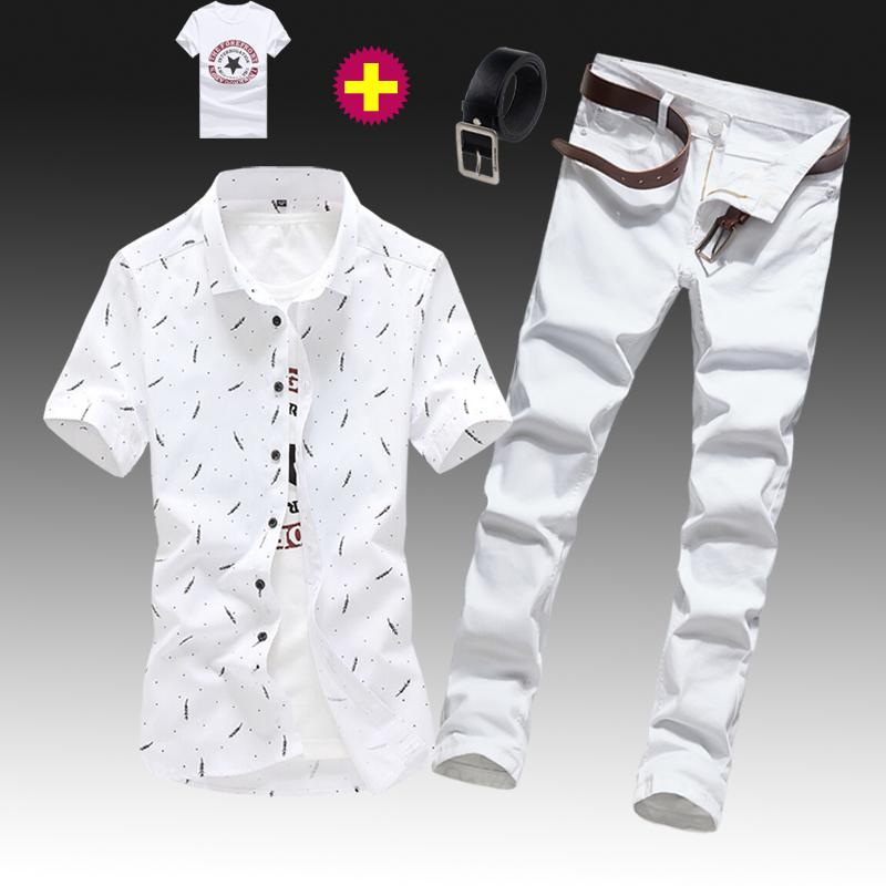 男式褲子短袖夏季外套休閑潮流襯衫牛仔套裝襯衣