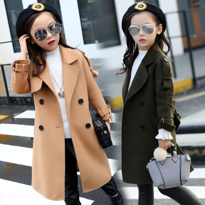 女童毛呢外套儿童呢子大衣加厚中长款秋冬装2016新款韩版加绒加厚