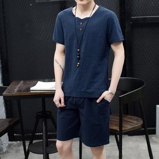 天天特价亚麻套装男士夏季五分裤棉麻裤子 宽松青年大码棉麻套装