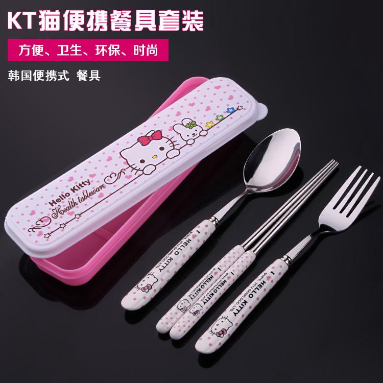 包邮 韩式旅行餐具套装 可爱猫陶瓷柄不锈钢餐具 学生便携式餐具