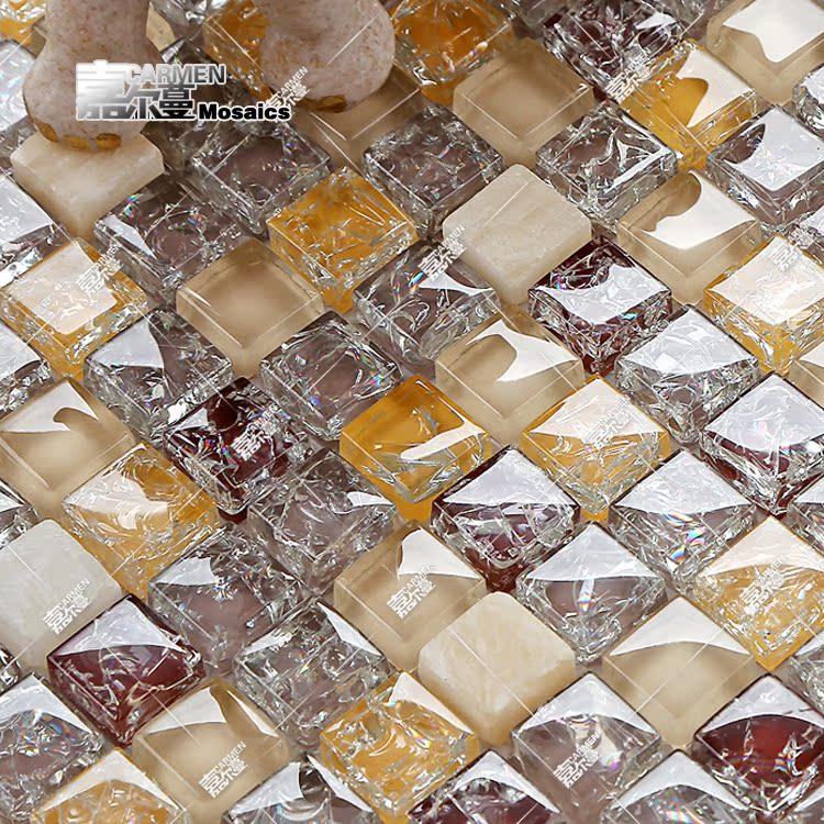 嘉尔曼 水晶玻璃马赛克瓷砖欧式客厅电视背景墙贴拼图玄关 卫生间