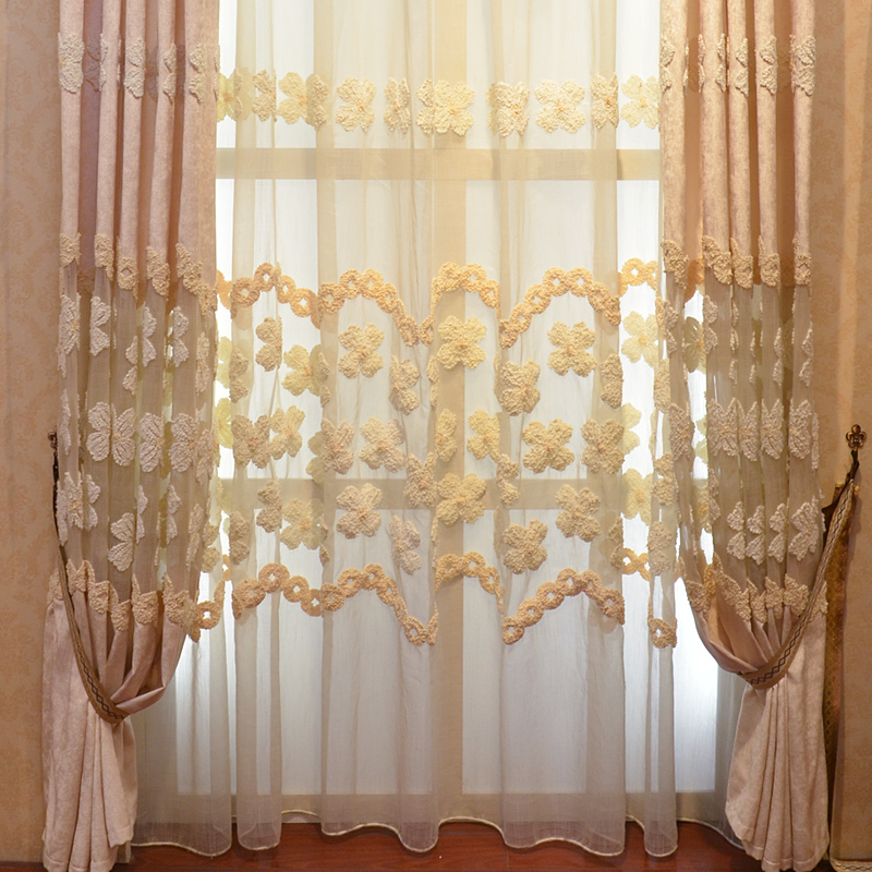 纱绣花窗帘欧式田园客厅卧室百搭定制窗帘布卡布奇诺