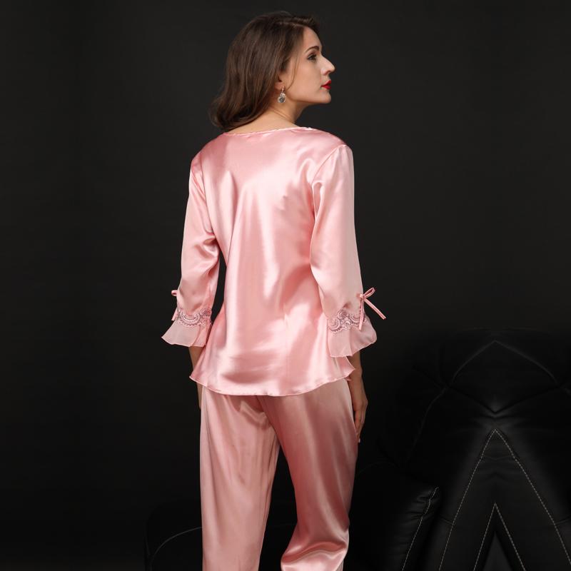 高档春夏季真丝睡衣女性感两件套冰丝绸家居服长袖奢华睡衣套装