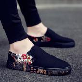 夏季潮流百搭一脚蹬懒人布鞋 潮鞋 男士 男鞋 韩版 休闲鞋 板鞋 帆布鞋
