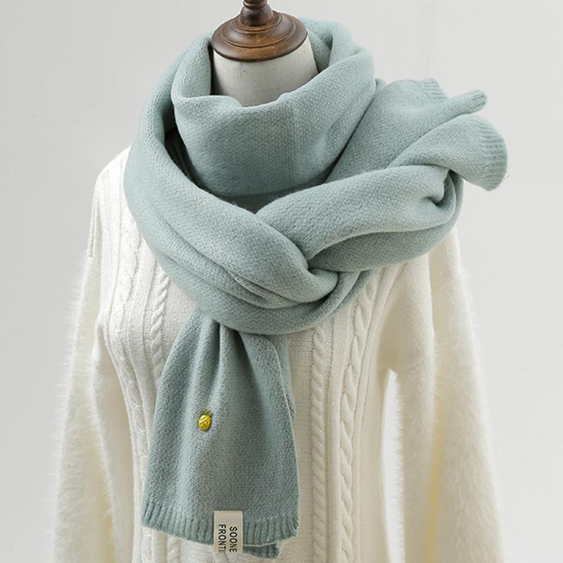 菠萝毛线围巾女冬季加厚纯色双面日系软妹小清新学生韩版针织围脖