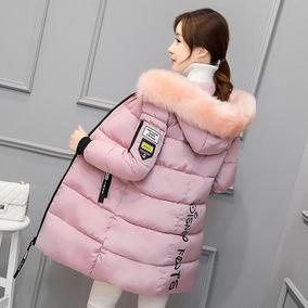 反季冬装外套 韩版时尚修身棉衣女中长款 大码加厚大毛领羽绒棉服