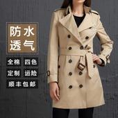 2017春季新款高端女风衣中长款修身简约双排扣欧美卡其色英伦外套