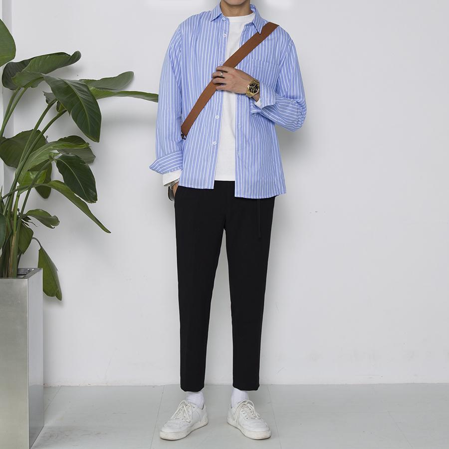 天天特价 韩版男士学生青年宽松衬衣长袖蓝色正装竖条纹大码衬衫