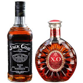 【洋酒2瓶】杰克俱乐部威士忌700ml+金奖白兰地xo500ml共计1200ml