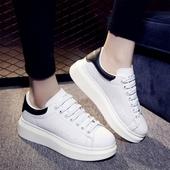 2017秋季韩版小白鞋厚底运动休闲鞋系带平底白色女单鞋增高学生鞋